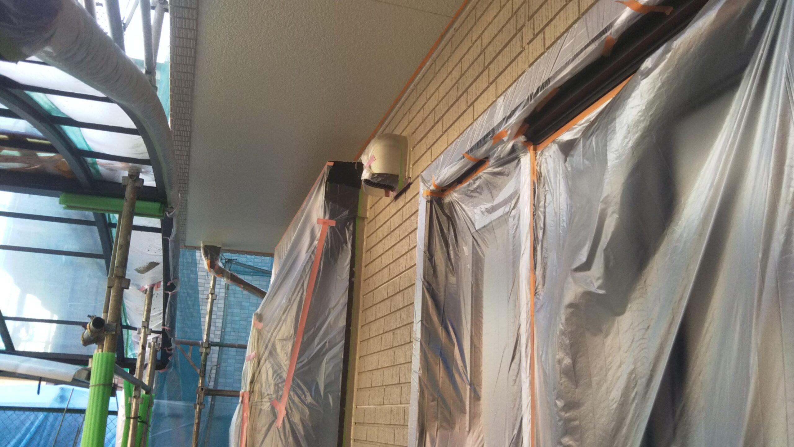 埼玉県さいたま市中央区の(木造3階建て)I様邸にて外壁の仕上げ塗装