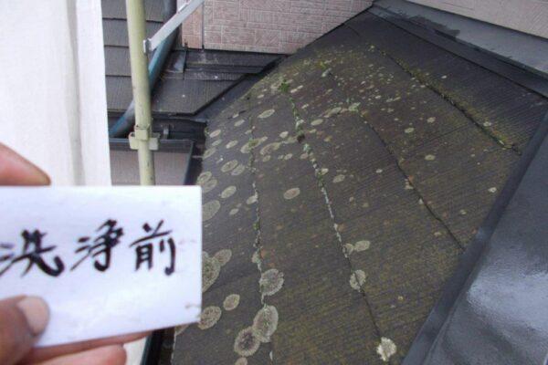 下屋根の高圧洗浄前