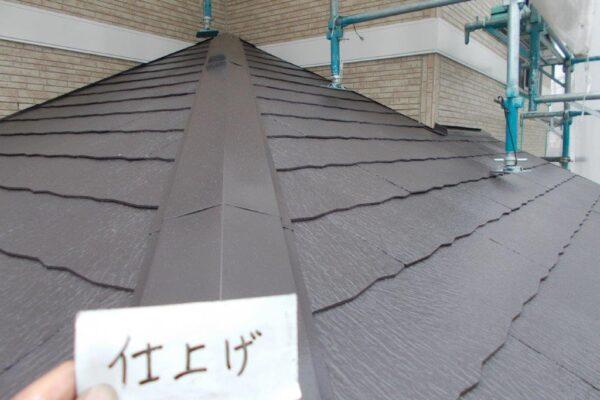 下屋根の上塗り塗装