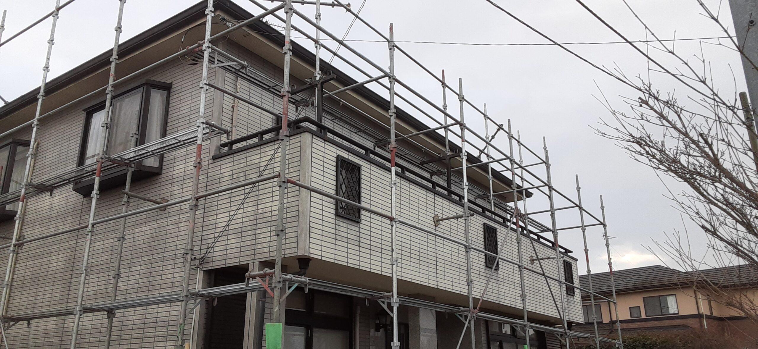 埼玉県さいたま市 外壁塗装のメッシュ張り/さいたま市岩槻区の(木造2階建て)M様邸にて塗り替えリホーム