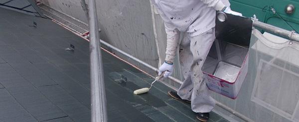 埼玉県越谷市 屋根塗装 外壁塗装 屋根下塗り 日本ペイント ファイン浸透シーラー透明 (2)