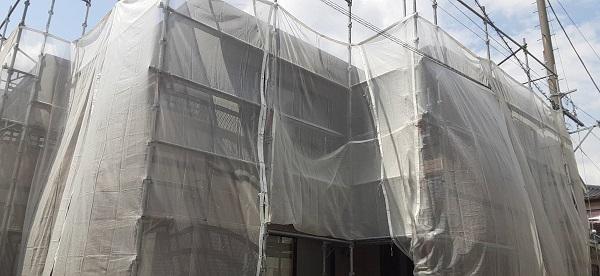 さいたま市緑区 N様邸 外壁塗装 足場組み立て 飛散防止ネット(メッシュシート) 高圧洗浄 (3)