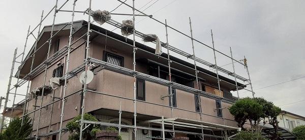 埼玉県さいたま市西区 I様邸 屋根塗装・付帯部塗装 足場設置 土間養生 (2)