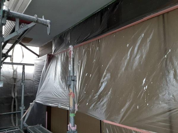 埼玉県さいたま市西区 S様邸 漆喰工事・外壁塗装 建物の養生 軒天塗装