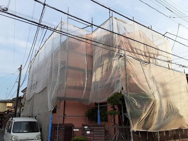 埼玉県さいたま市岩槻区 K様邸 屋根塗装・外壁塗装 足場組み立て クサビ足場 (2)
