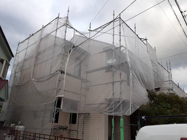 埼玉県さいたま市南区 N様邸 外壁塗装 仮設足場 飛散防止ネット (2)