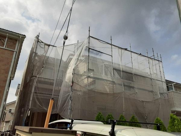 埼玉県さいたま市中央区 H様邸 外壁塗装・付帯部塗装 足場組み立て メッシュシート (3)